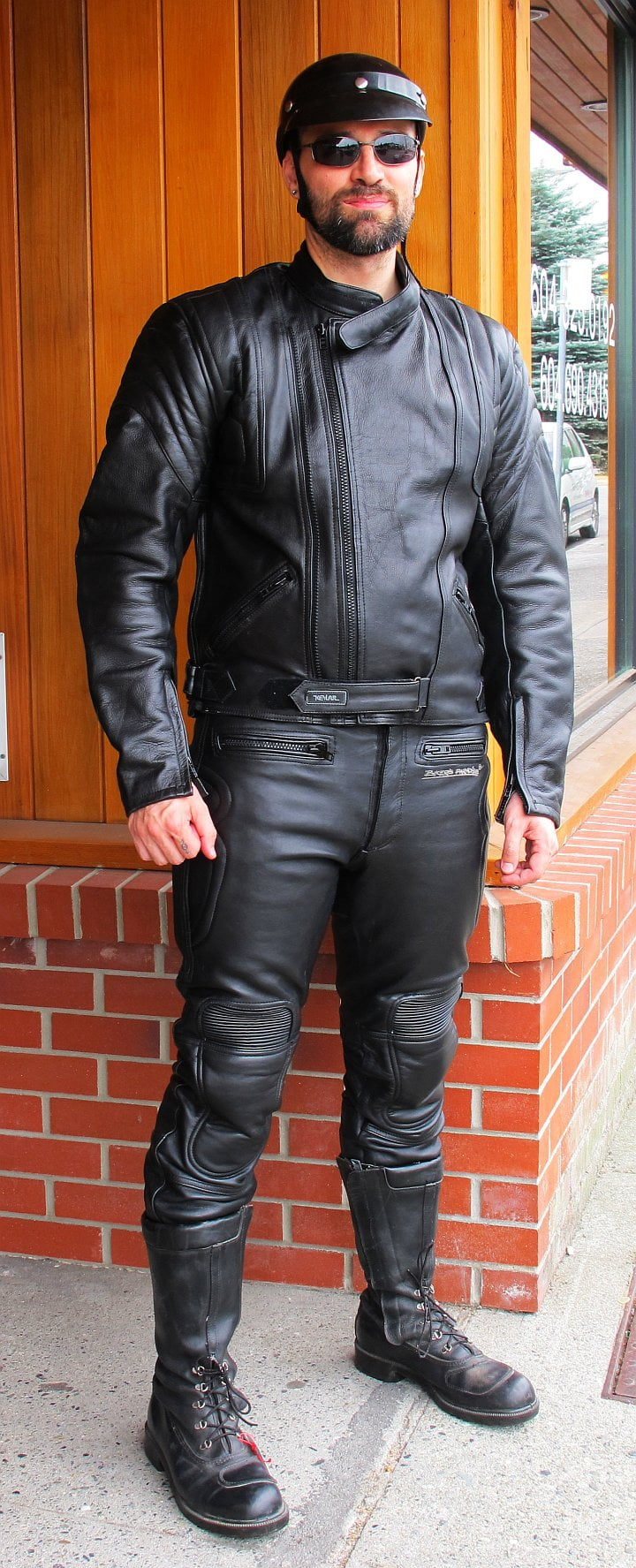 Two Piece Motorcycle Suit – Black Leather and Kevlar (and Royer Boots)