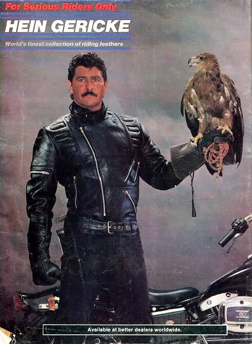 Hein Gericke while riding with a live eagle