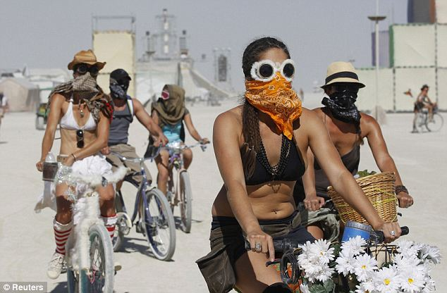 burning man bicycles and goggles