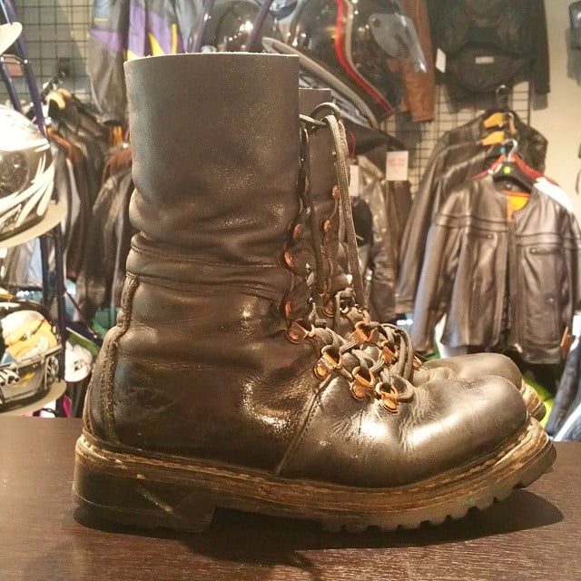 #vintage Austrian military #boots, full hide leather construction. Size mens 8, women's 9.5. $24 #rerides
