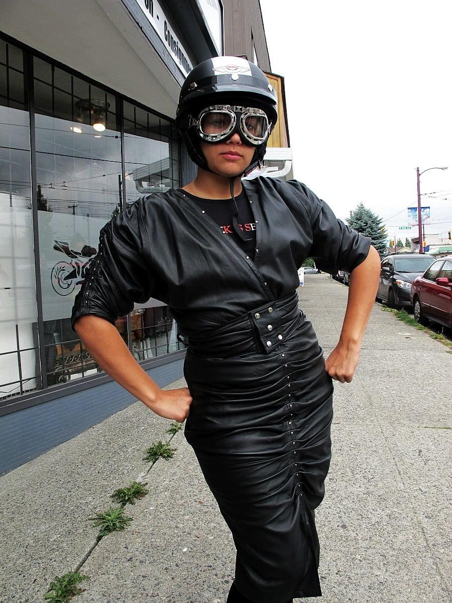 Heatheringtons Fawncy Shirred Leather Dress