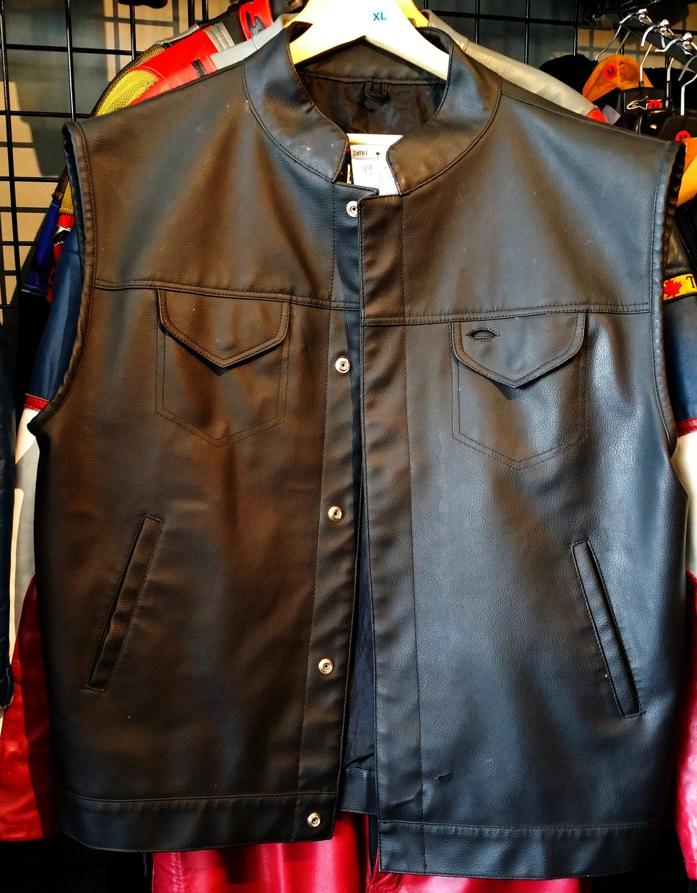 Sons of Anarchy-style club vest; cheap like borscht. Halloween!