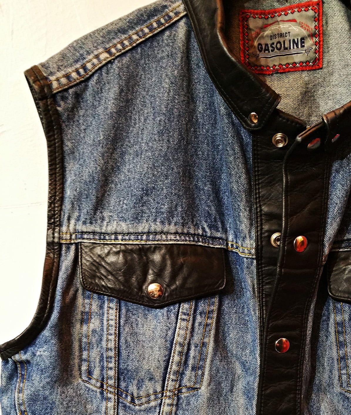 Gasoline Denim & Leather Vest with a theme song….