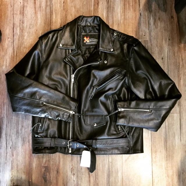 Xelement Leather Classic Biker Jacket