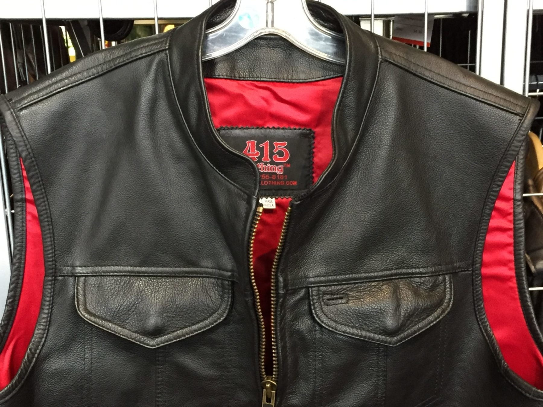 415 Leather Club Style Zipper Vest