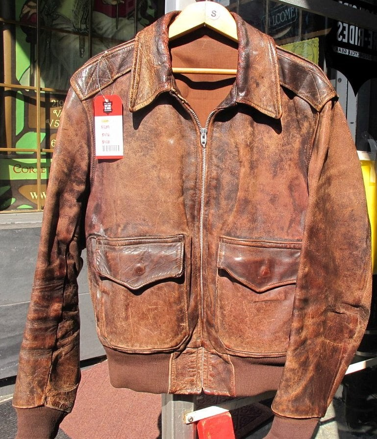 Old-School WWII Leather Bomber Flight Jacket