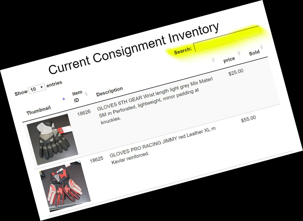 New! Inventory has search function, pagination, AND is responsive!